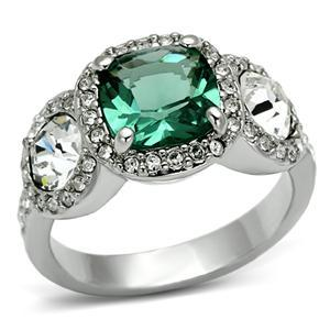 Three Stone Green and Clear Cubic Zirconia Ring SIZE 7, 8 image 2