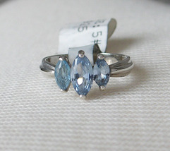 Sterling Silver 3 Blue Marquise Cubic Zirconia Ring - SIZE 5 (LAST ONE) image 3