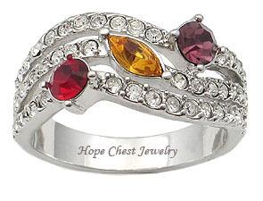 Silver Tone Designer Inspired Multicolor Cubic Zirconia Ring - SIZE 5, 8, 9 image 2