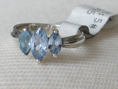 Sterling Silver 3 Blue Marquise Cubic Zirconia Ring - SIZE 5 (LAST ONE) image 4