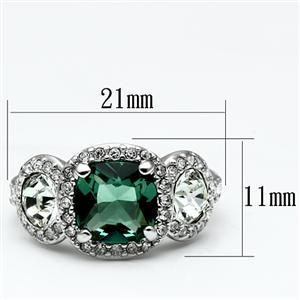 Three Stone Green and Clear Cubic Zirconia Ring SIZE 7, 8 image 3