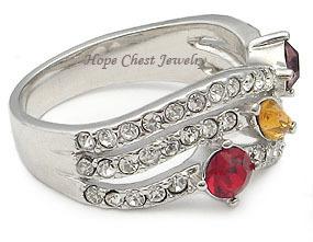 Silver Tone Designer Inspired Multicolor Cubic Zirconia Ring - SIZE 5, 8, 9 image 3
