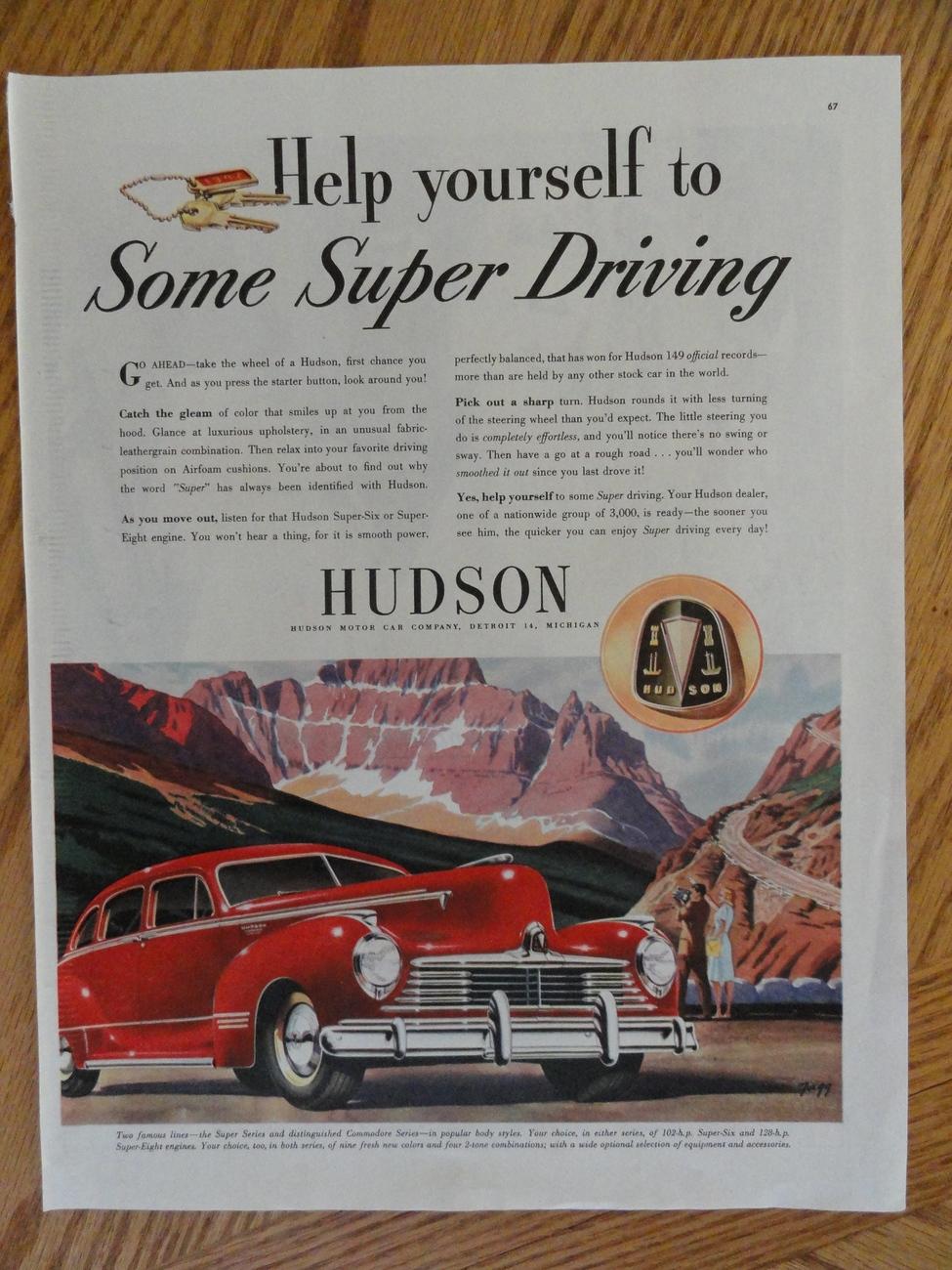 1947 Hudson Car Oringial magazine print ad. measures Approx. Bonanza