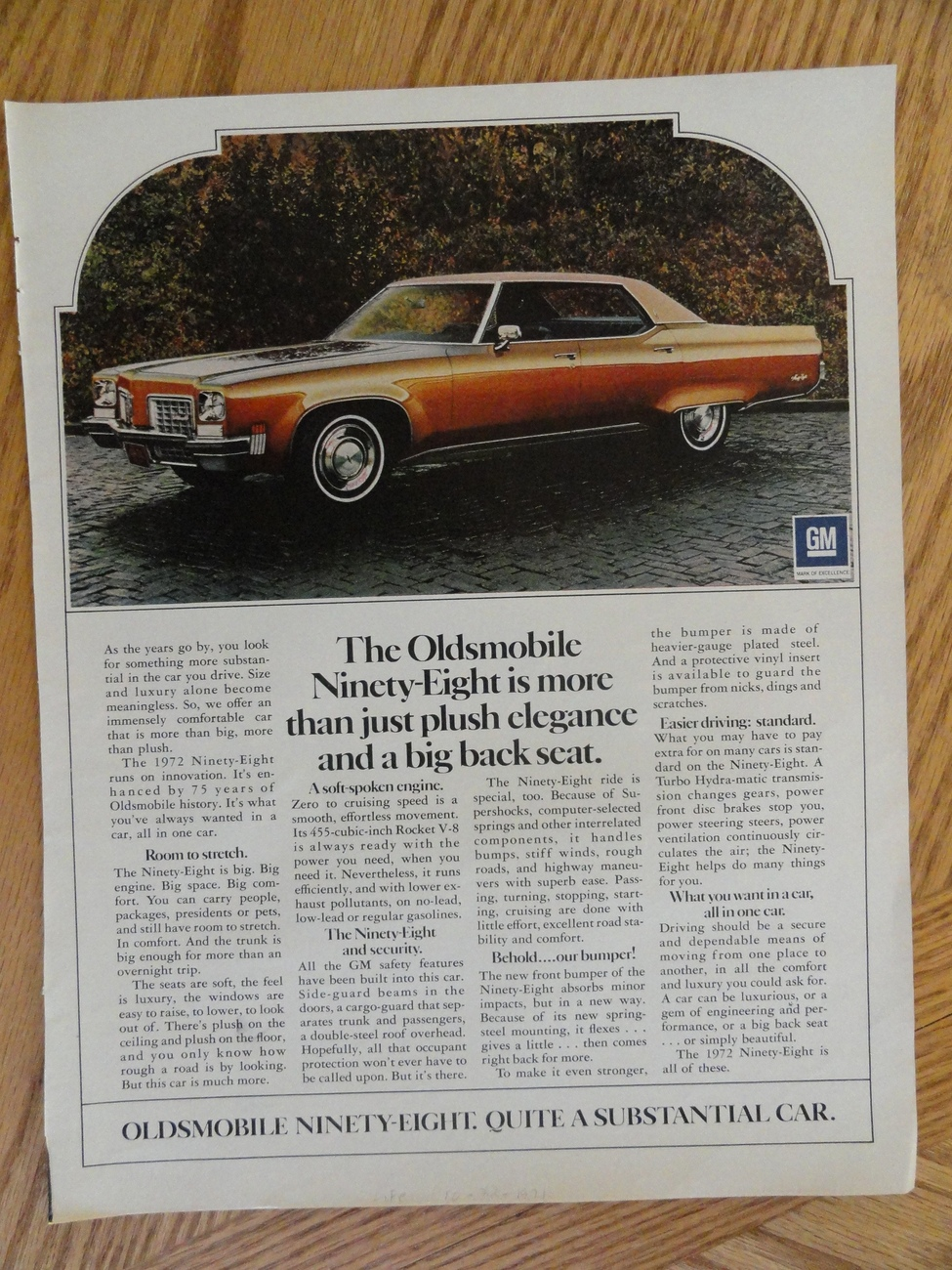 1971 Oldsmobile Ninety-Eight Oringial magazine print ad. mea Bonanza