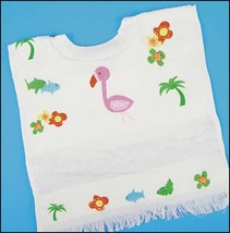 Flamingo printed velour pullover baby bib prefinished accessory Charles Craft - $9.70