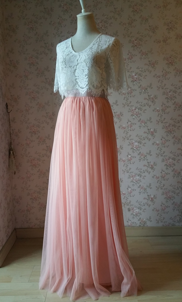 Tulle maxi skirt coral pink 2