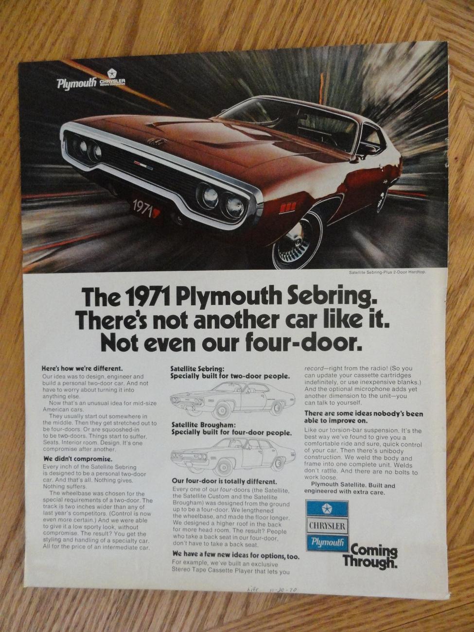 1971 Plymouth Sebring Oringial magazine print ad. 10 1/2