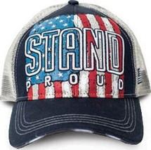 cec1f9dc Stand Proud United States of America Patriotic Flag Mesh Back Trucker Ha...  -