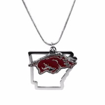 "Arkansas Razorbacks Home State Charm Necklace Silver Tone 18"" Snake Chain - €10,99 EUR"
