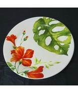 "Pier 1 Imports Salad Plate Ironstone Tropical Orange Green Retired 8.75""... - $12.86"