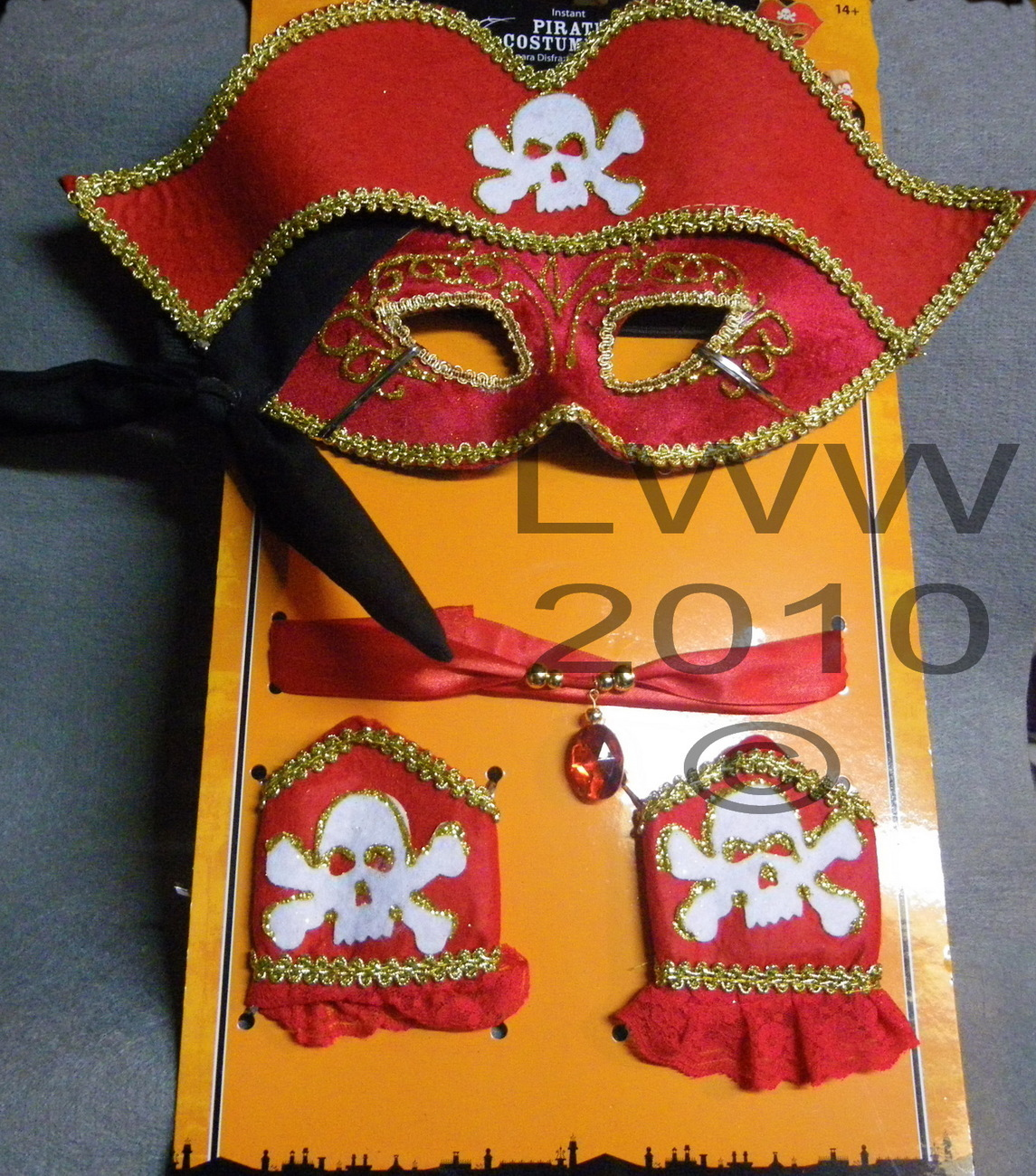 Adult Pirate Mask Wristlets and Choker Halloween Costume Kit Bonanza