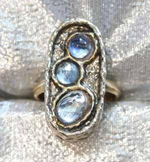 Art Moderne 60s Stunning Ice Blue Rhinestone Ring Bonanza
