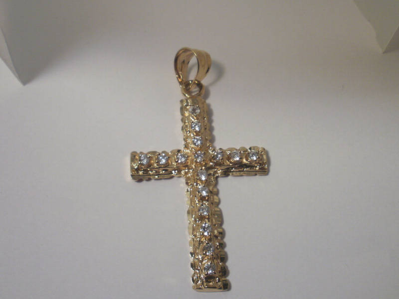 14K Gold Gep Etched Cross Cubic Zirconia  Pendant