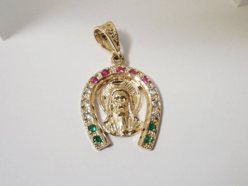 14K Gold Gep Horseshoe Red Green clear  CZ Pendant