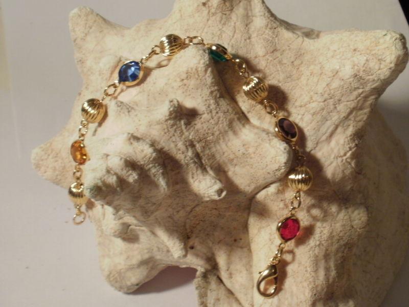 14K Gold Gep Crystal with Etched  Ball O link Bracelet