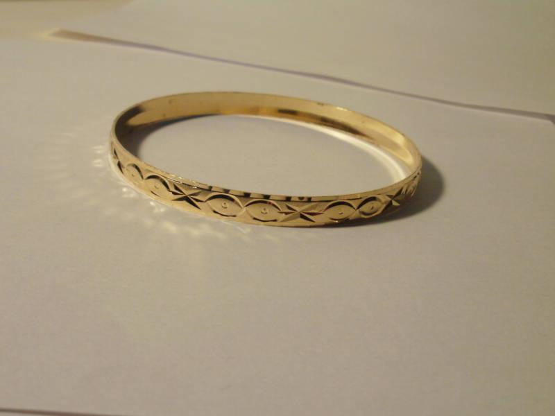 14K Gold Gep Bangle Bracelet Choice of 12 designs 3 In