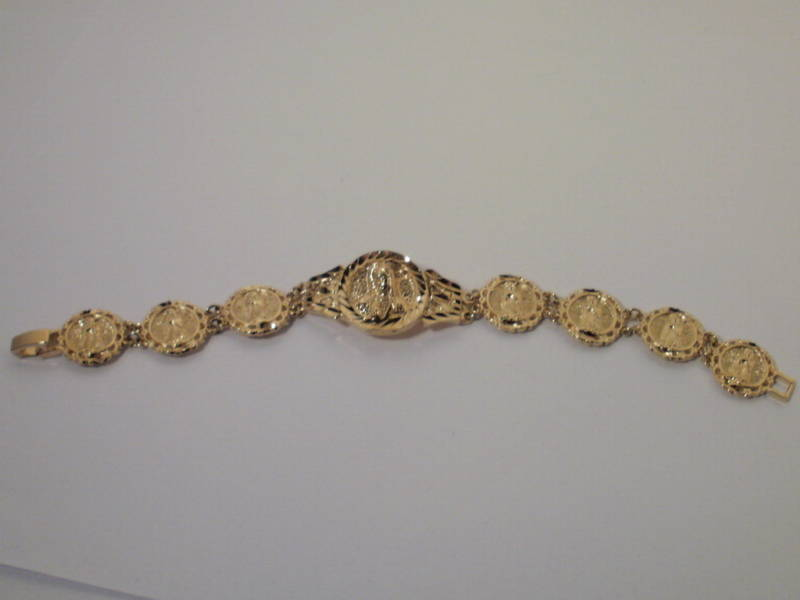 14K Yellow Gold overlay Virgin Mary  Bracelet