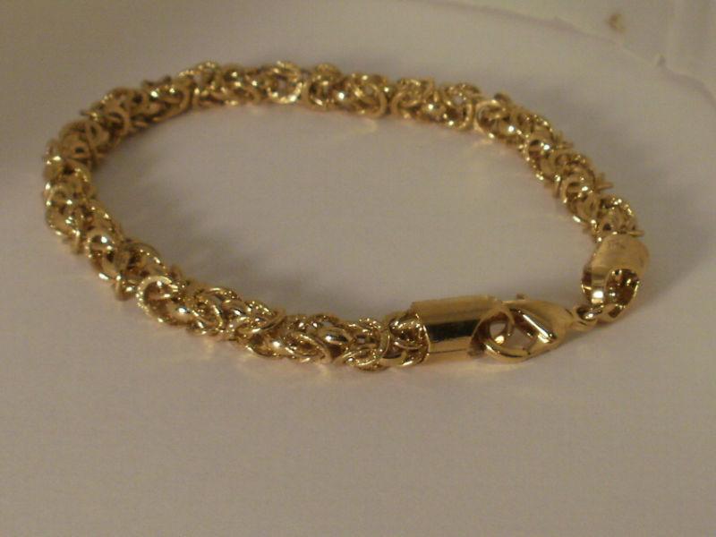 14k Yellow Gold overlay Byzantine Bracelet 8IN 6MM