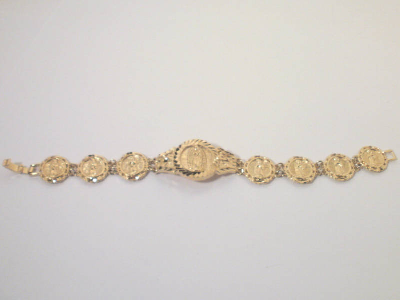 14K Yellow Gold overlay Our Lady of Guadalupe  Bracelet