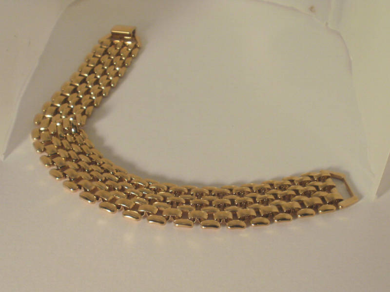 14k Yellow Gold overlay Panther link Bracelet 8 in 19MM