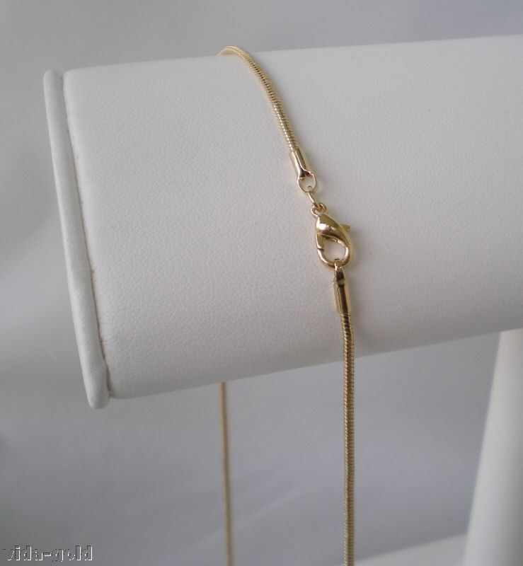 14K Yellow  Gold Plated classic 2MM Snake Chain