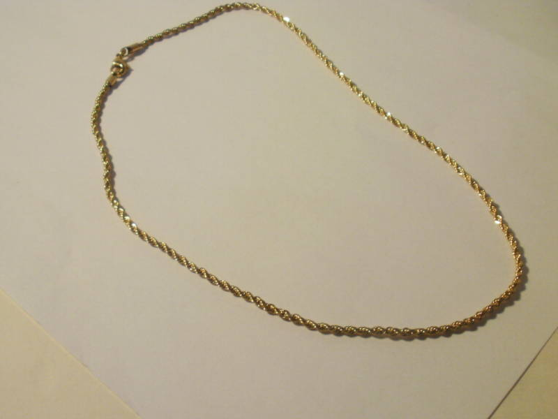 14k Yellow Gold Gep Rope Necklace chain 2 MM 16 IN Lifetime warranty