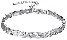 U7 Lady Solid Bangle Platinum Plated Flower Pattern Oval Waterdrop And Infinity - $27.89