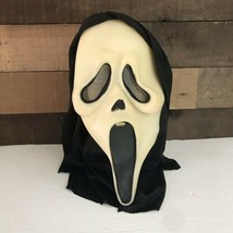 Vintage Ghost Face Scream Halloween Mask Glows Green Fun World Division ... - £70.28 GBP
