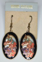 VTG Gold Tone Black Pink Unicorn Flowers Cloisonne Dangle Earrings New Old Stock - $29.70