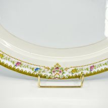 Meito China Blue Yellow & Pink Flower Gold Accent Oval Serving Platter image 4