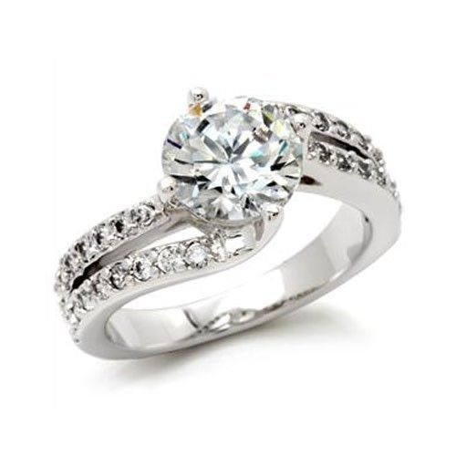 CZ ENGAGEMENT RING - 2 Row Cubic Zirconia Ring -SIZE 6
