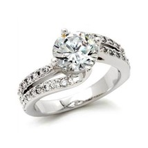 CZ ENGAGEMENT RING - 2 Row Cubic Zirconia Ring -SIZE 6 image 1