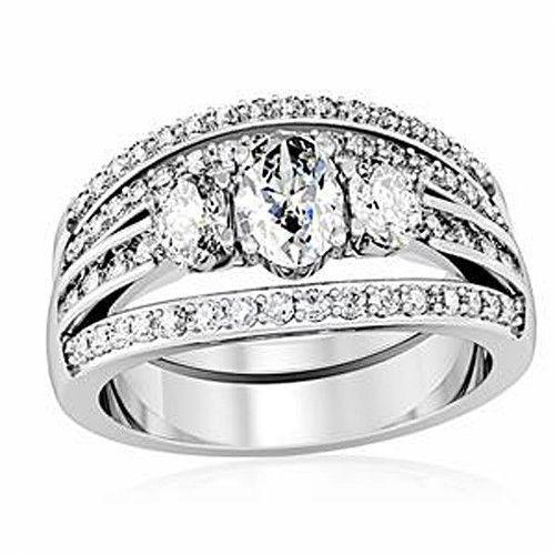 CZ WEDDING RINGS - 3 Stone Engagement Ring & Wedding Ring Set -SIZE 5 - 10