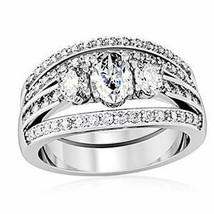 CZ WEDDING RINGS - 3 Stone Engagement Ring & Wedding Ring Set -SIZE 5 - 10 image 1