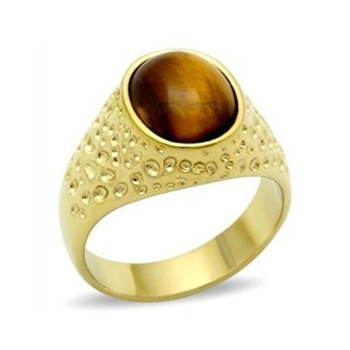 Gold Tone Oval Semi Precious Tiger Eye Men's Ring -SIZE 13 OR OTHER SIZE