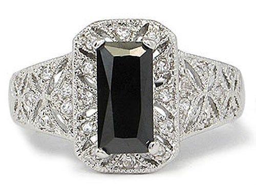 Filigree Design Simulated Black Cubic Zirconia Engagement Ring -SIZE 9 (LAST 1)