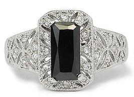 Filigree Design Simulated Black Cubic Zirconia Engagement Ring -SIZE 9 (LAST 1) image 1