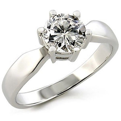 Round Cut Solitaire Cubic Zirconia Engagement Ring - SIZE 7, 10