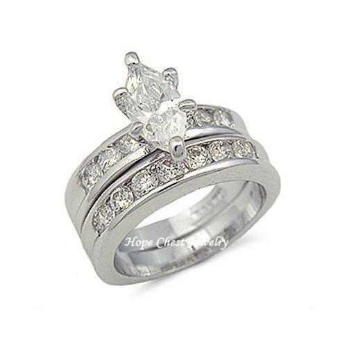 BRIDAL SET Marquise Cut Silver Tone Cubic Zirconia Wedding Ring Set - SIZE 5,10