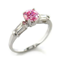 Cute 0.70 Carat Pink Cubic Zirconia Ring - SIZE 7, 8, 10 image 1