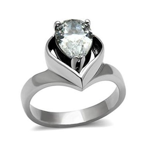 Stainless Steel 3.2 Carat Pear Shape CZ Engagement Ring - SIZE 8 OR OTHER SIZES