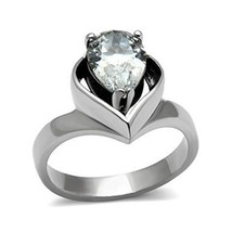 Stainless Steel 3.2 Carat Pear Shape CZ Engagement Ring - SIZE 8 OR OTHER SIZES image 1