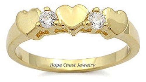 14K Gold Plated 3 Hearts Cubic Zirconia Ring - SIZE 5 TO 8