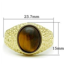 Gold Tone Oval Semi Precious Tiger Eye Men's Ring -SIZE 13 OR OTHER SIZE image 2
