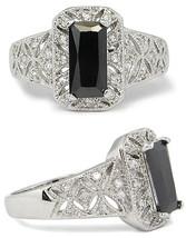 Filigree Design Simulated Black Cubic Zirconia Engagement Ring -SIZE 9 (LAST 1) image 2