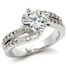 CZ ENGAGEMENT RING - 2 Row Cubic Zirconia Ring -SIZE 6 image 2