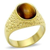 Gold Tone Oval Semi Precious Tiger Eye Men's Ring -SIZE 13 OR OTHER SIZE image 3