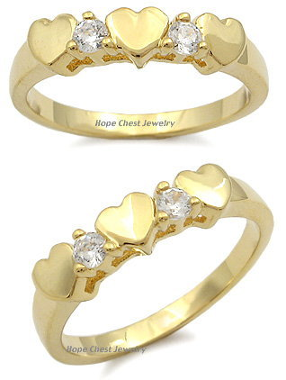 14K Gold Plated 3 Hearts Cubic Zirconia Ring - SIZE 5 TO 8 image 2
