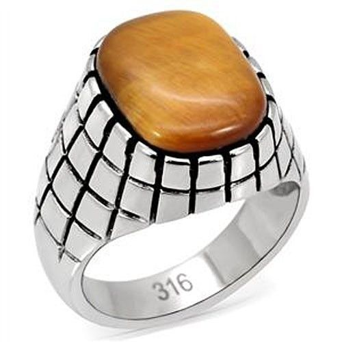 Stainless Steel Synthetic Tiger's Eye Men's Ring - SIZE 8 - 13