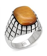 Stainless Steel Synthetic Tiger's Eye Men's Ring - SIZE 8 - 13 - $14.29